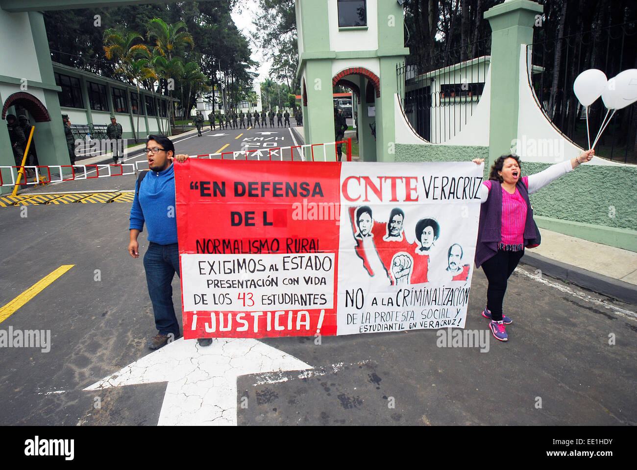 Guerrero, Mexico. 12th Jan, 2015. Teachers of the National Coordinator of Education Workers (CNTE) tried to enter Stock Photo
