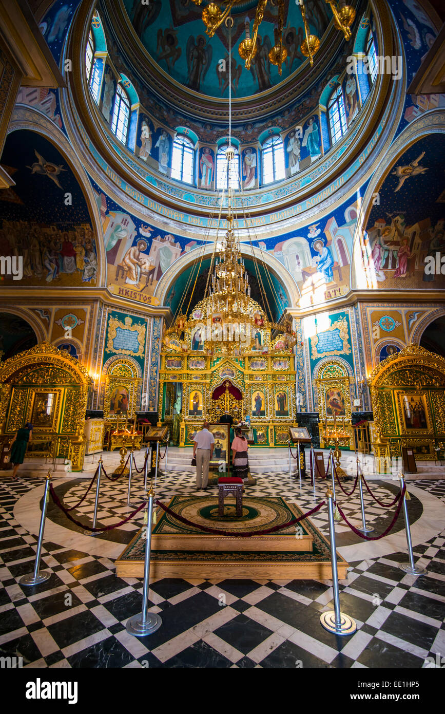 The ostentatious interior of the Nativitiy Cathedral, Chisinau, Moldova, Europe - Stock Image