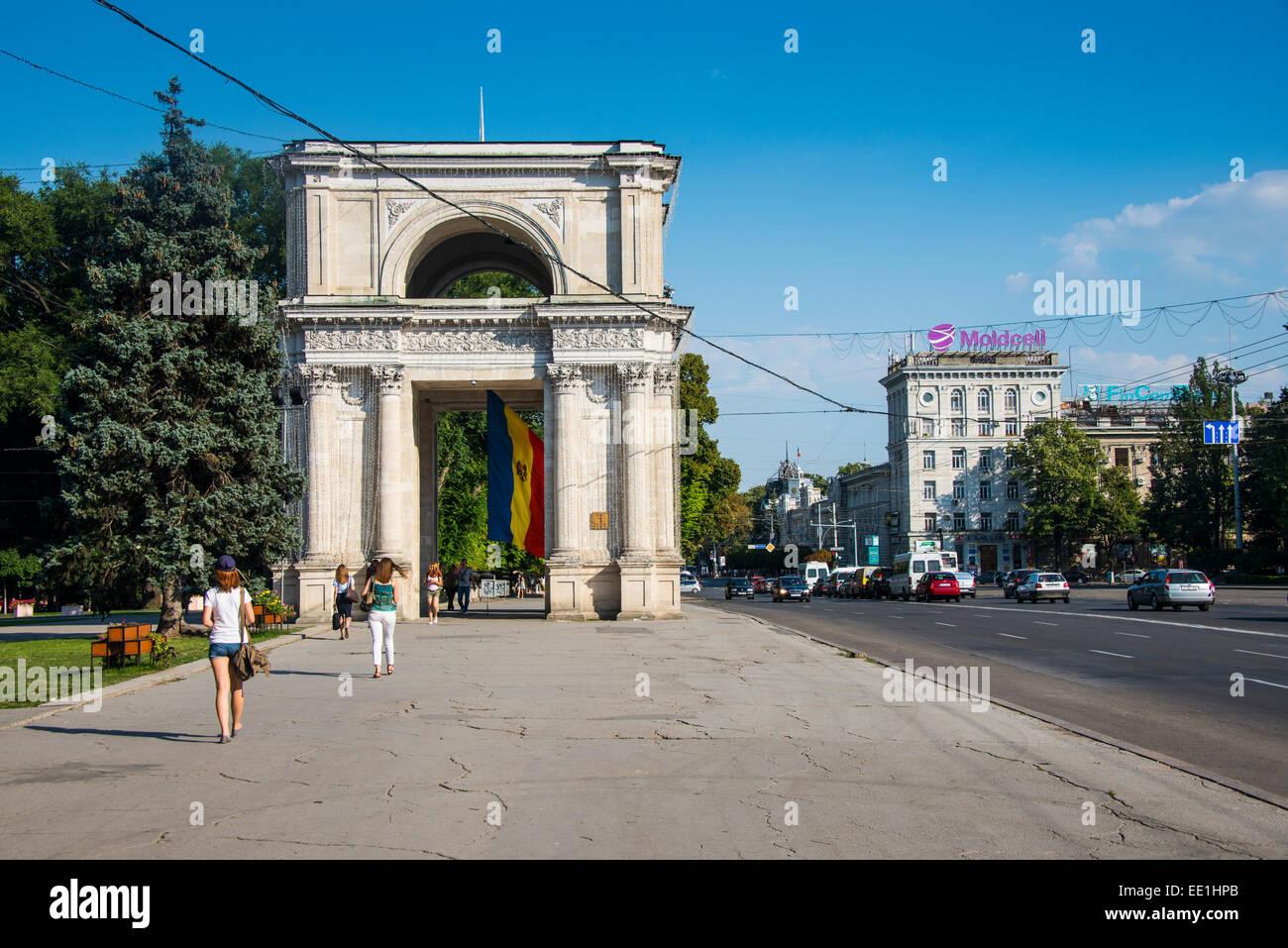 Arc de Triomphe in the center of Chisinau, Moldova, Europe - Stock Image