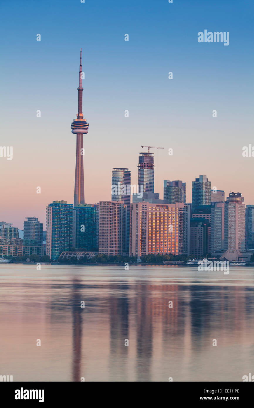 View of CN Tower and city skyline, Toronto, Ontario, Canada, North America Stock Photo