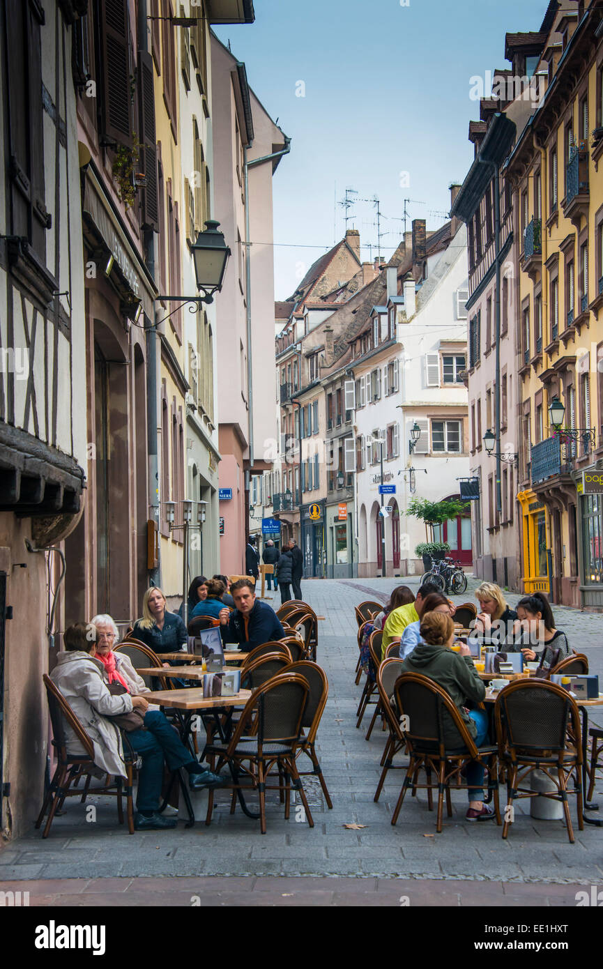 Street cafes in Petite France, UNESCO World Heritage Site, Strasbourg, Alsace, France, Europe - Stock Image