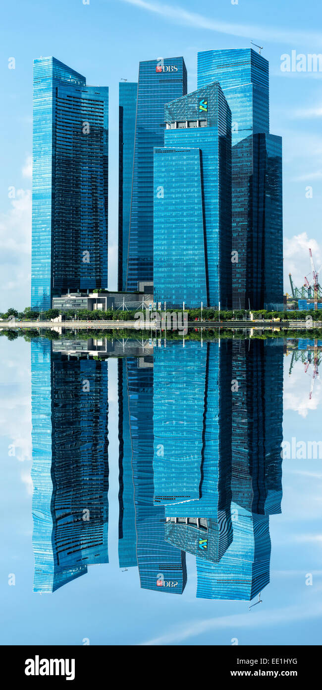 Reflections, Downtown Central financial district, Singapore, Southeast Asia, Asia - Stock Image