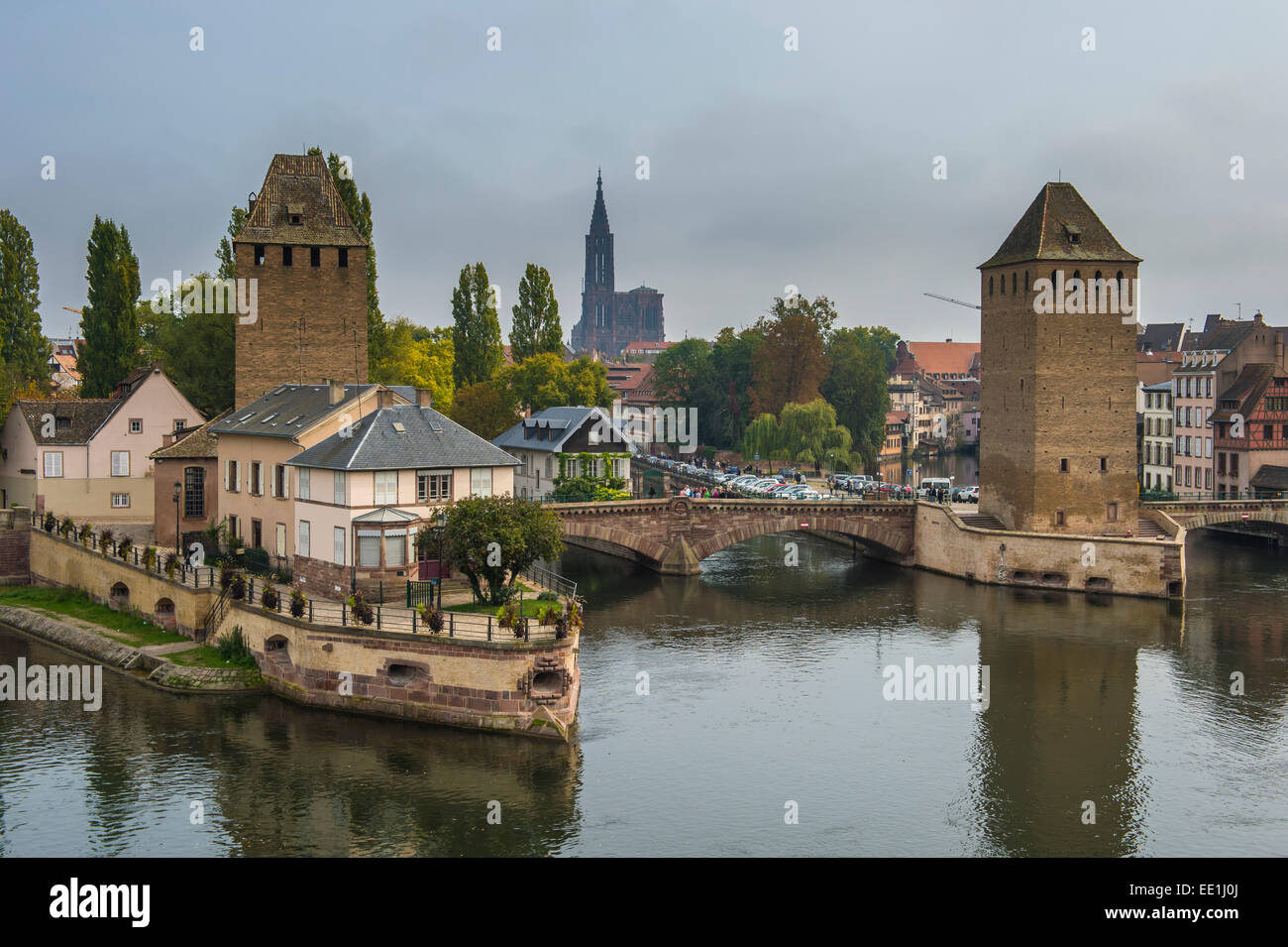 Ponts Couverts, UNESCO World Heritage Site, Ill River, Strasbourg, Alsace, France, Europe - Stock Image