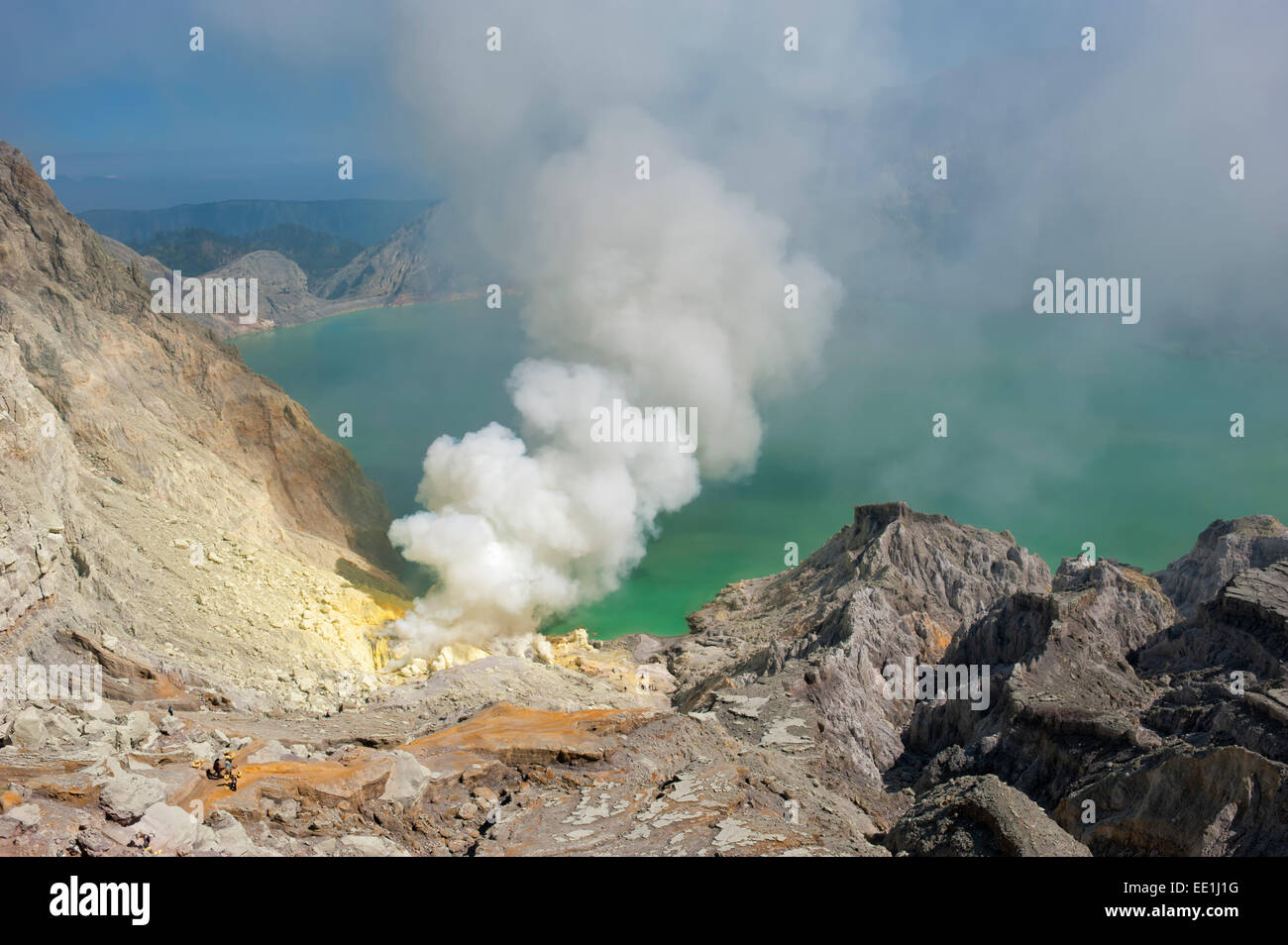 Kawah Ijen volcano (Ijen crater and lake), Banyuwangi, East Java, Indonesia, Southeast Asia, Asia - Stock Image