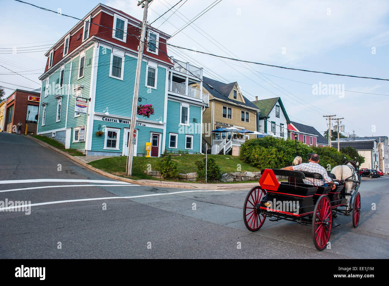 Horse cart riding historical style in the Old Town, Lunenburg, UNESCO World Heritage Site, Nova Scotia, Canada, - Stock Image