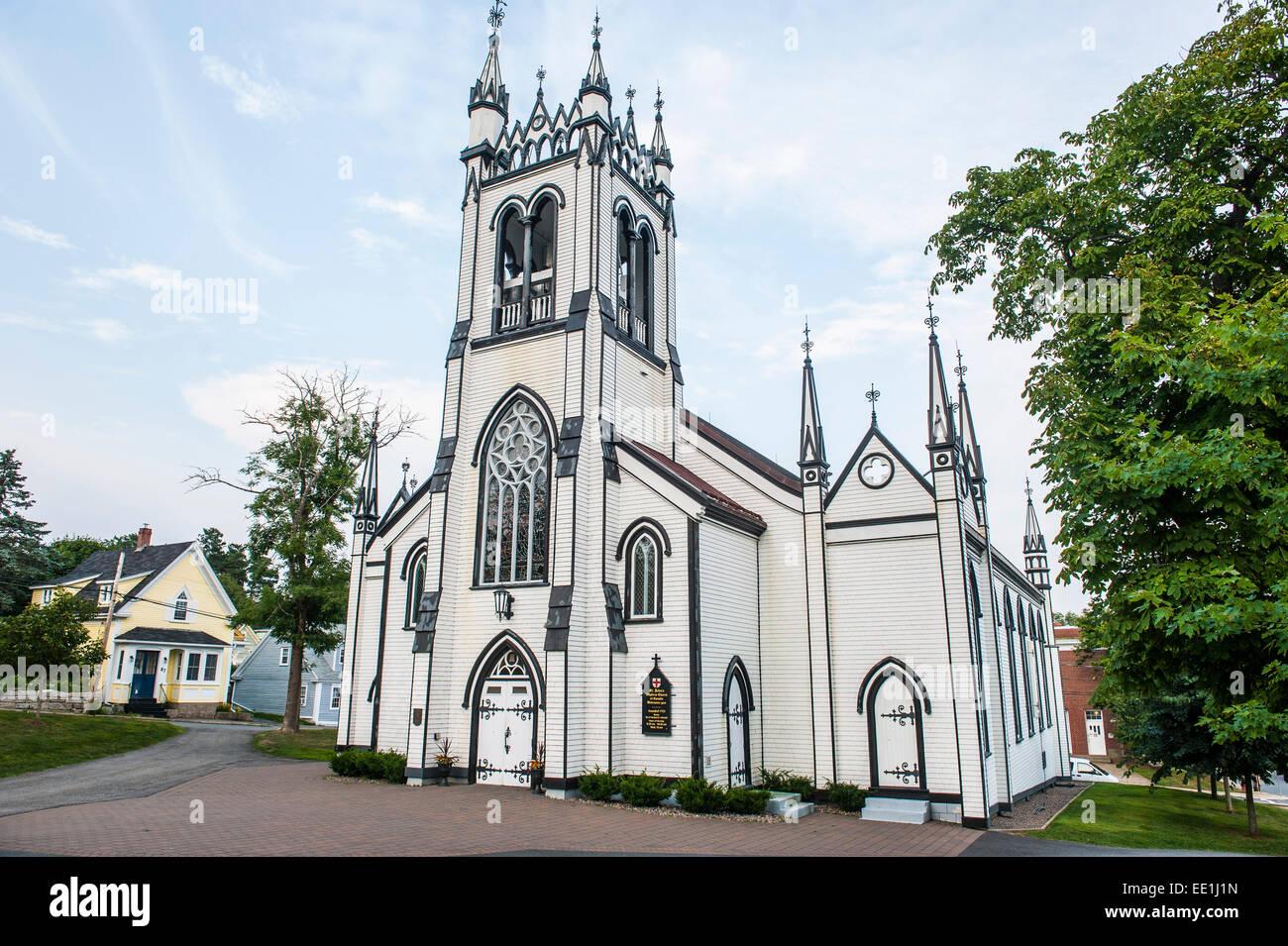 St. John's Anglican church in the old Town Lunenburg, UNESCO World Heritage Site, Nova Scotia, Canada, North - Stock Image