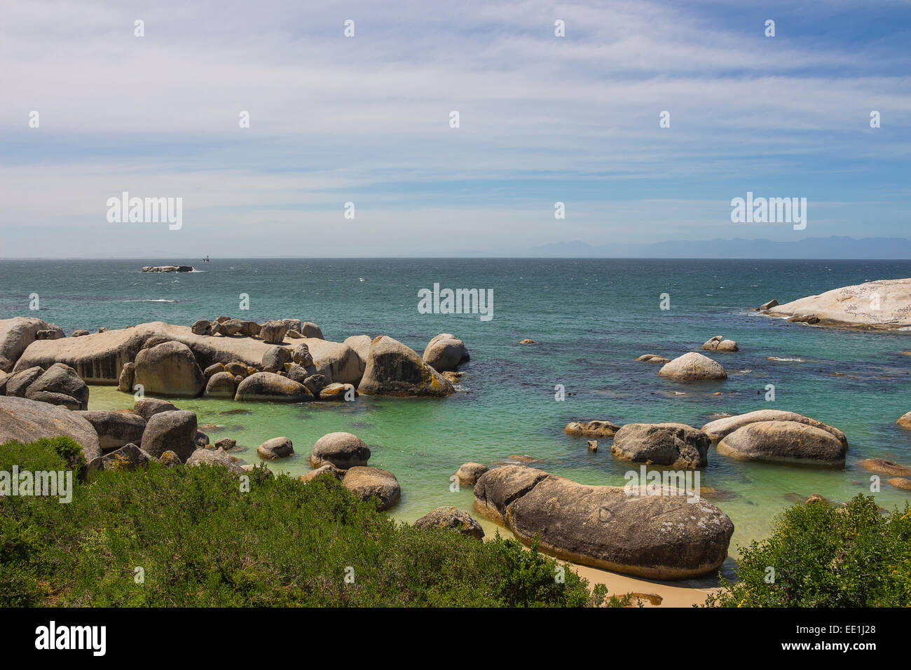 Boulders Beach in Simonstown on a partly cloudy day - Stock Image