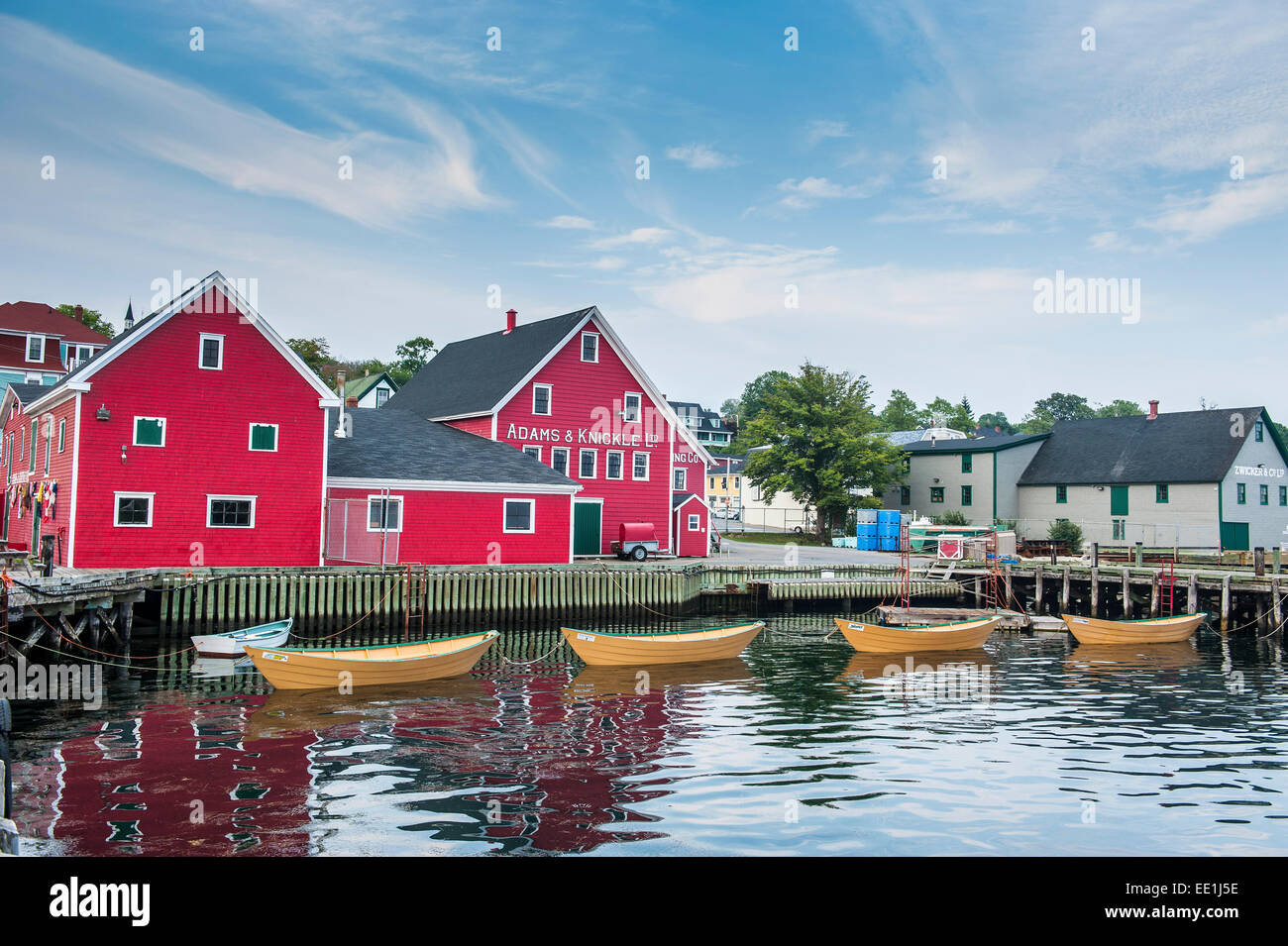 Little rowing boat anchored in the harbour of the old town of Lunenburg, UNESCO World Heritage Site, Nova Scotia, - Stock Image