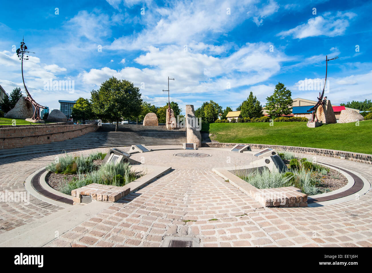 Forks astrological monument, Oodena Celebration Circle, Winnipeg, Manitoba, Canada, North America - Stock Image