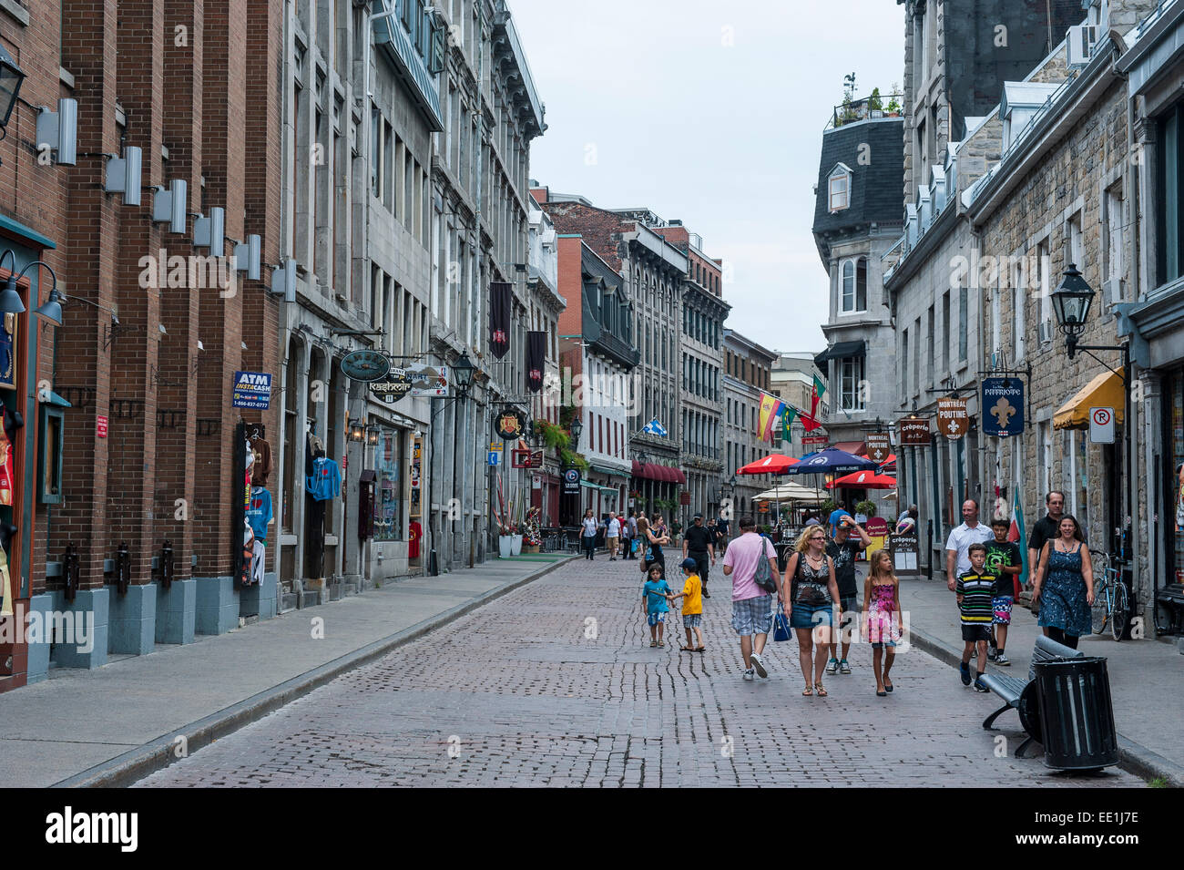 Cobblestone street in the old quarter of Montreal, Quebec, Canada, North America - Stock Image