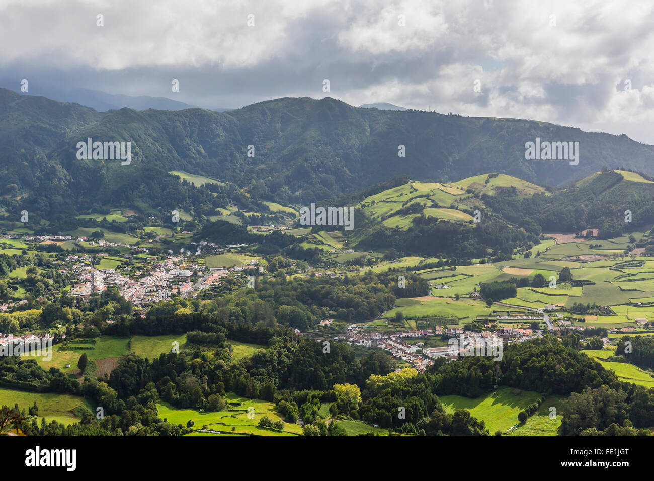 Furnas Valley, a site of bubbling hot springs and fumaroles on the Azorean capital island of Sao Miguel, Azores, - Stock Image