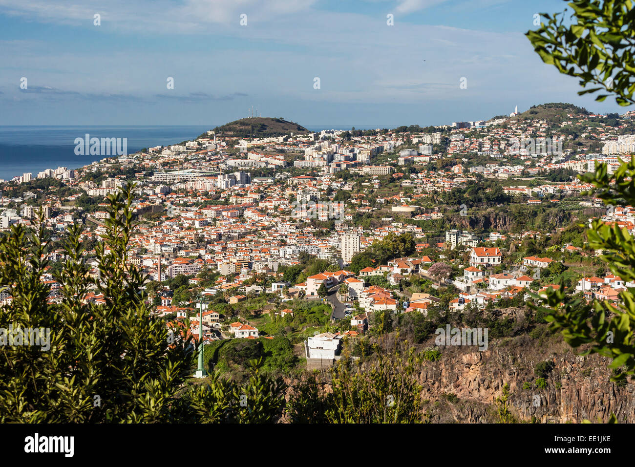 View from above the heart of the capital city of Funchal, Madeira, Portugal, Atlantic, Europe - Stock Image