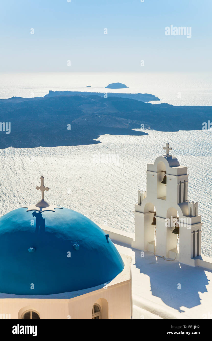 Blue dome and bell tower, St. Gerasimos church, Firostefani, Fira, Santorini (Thira), Cyclades Islands, Greece - Stock Image