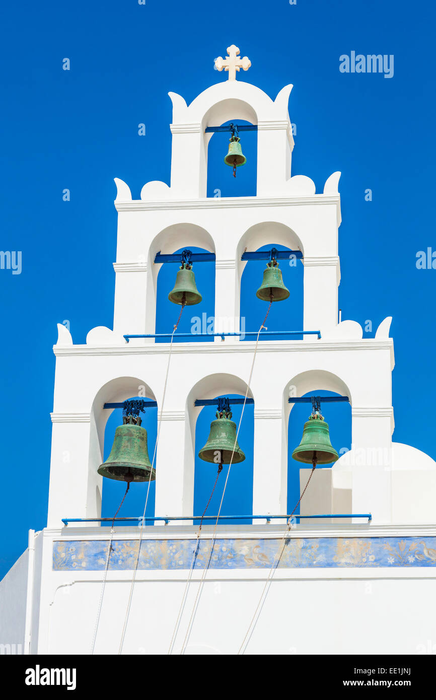 Greek church bell tower of Panagia Platsani, Oia, Santorini (Thira), Cyclades Islands, Greek Islands, Greece, Europe - Stock Image