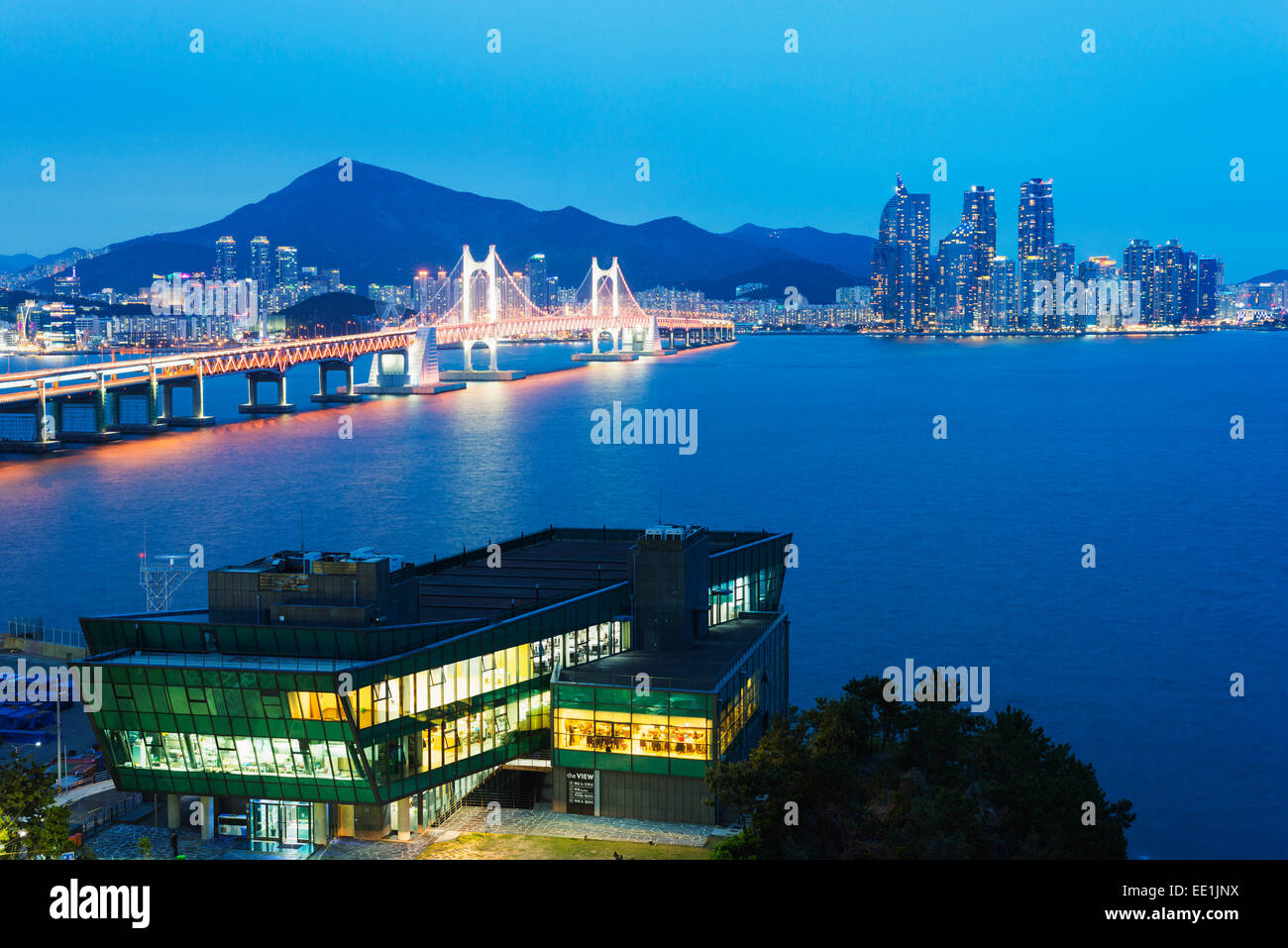 City skyline and Gwangang bridge, Busan, South Korea, Asia - Stock Image