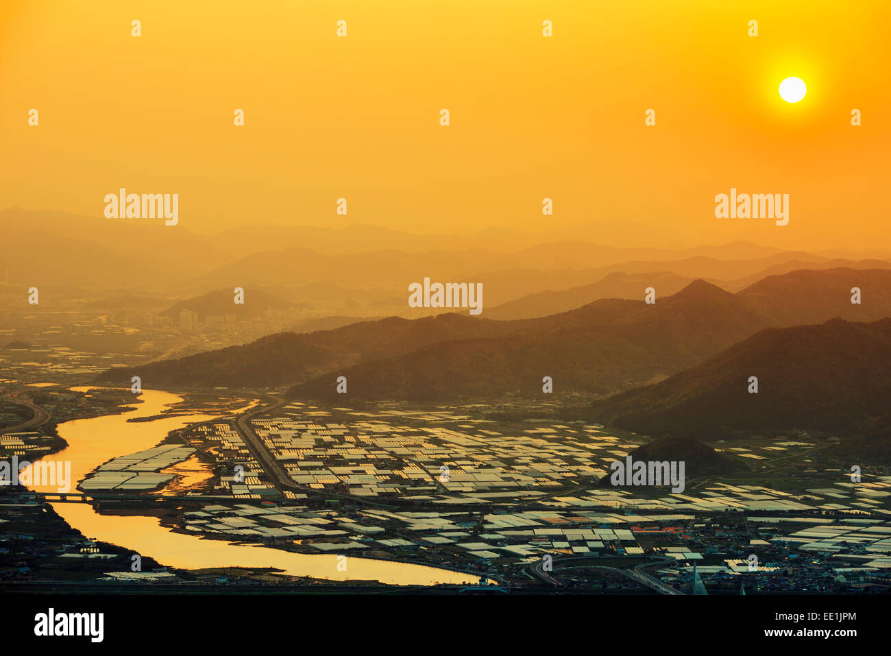 Sunset over city, Busan, South Korea, Asia - Stock Image