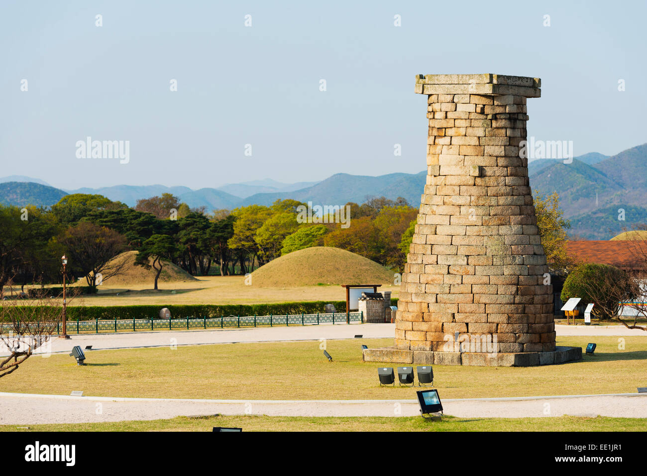 Cheomseongdae Astronomical Observation Tower, Royal Tombs burial mounds, UNESCO, Gyeongju, Gyeongsangbuk-do, South - Stock Image