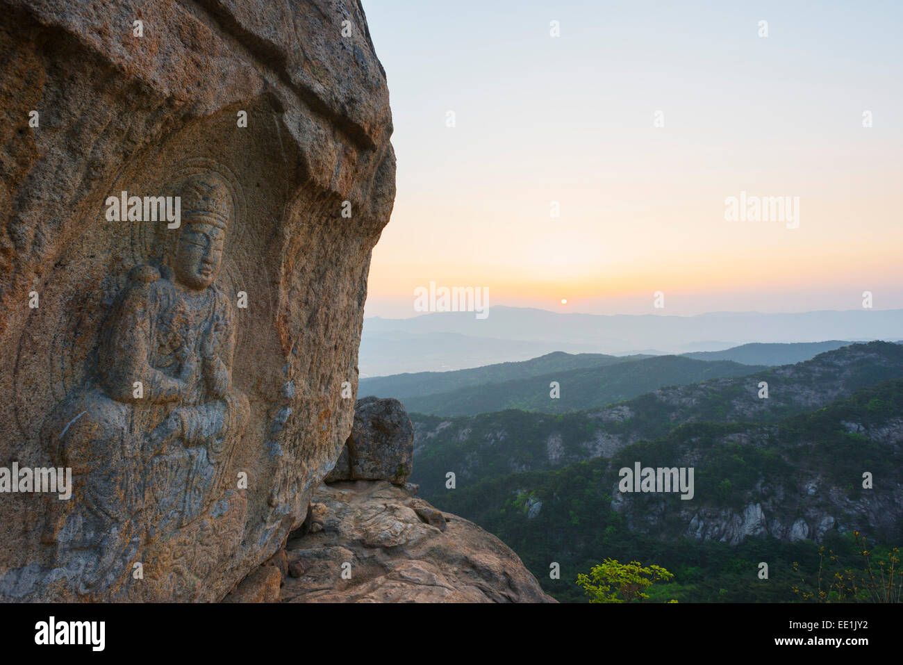 Rock carved Buddha image, UNESCO World Heritage Site, Mount Namsan National Park, Gyeongju, Gyeongsangbuk-do, South Stock Photo