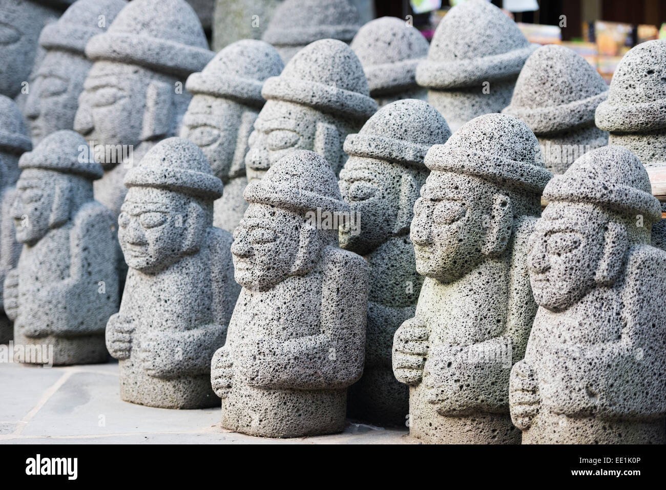 Dol hareubang (harubang) protection and fertility statues, Seogwipo City, Jeju Island, South Korea, Asia - Stock Image