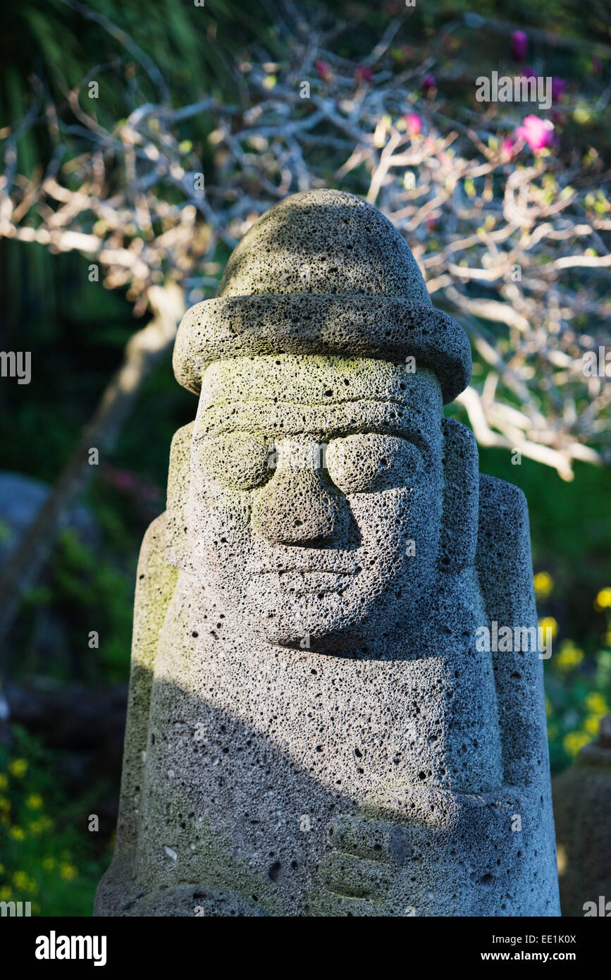 Dol hareubang (harubang) protection and fertility statue, Seogwipo City, Jeju Island, South Korea, Asia - Stock Image