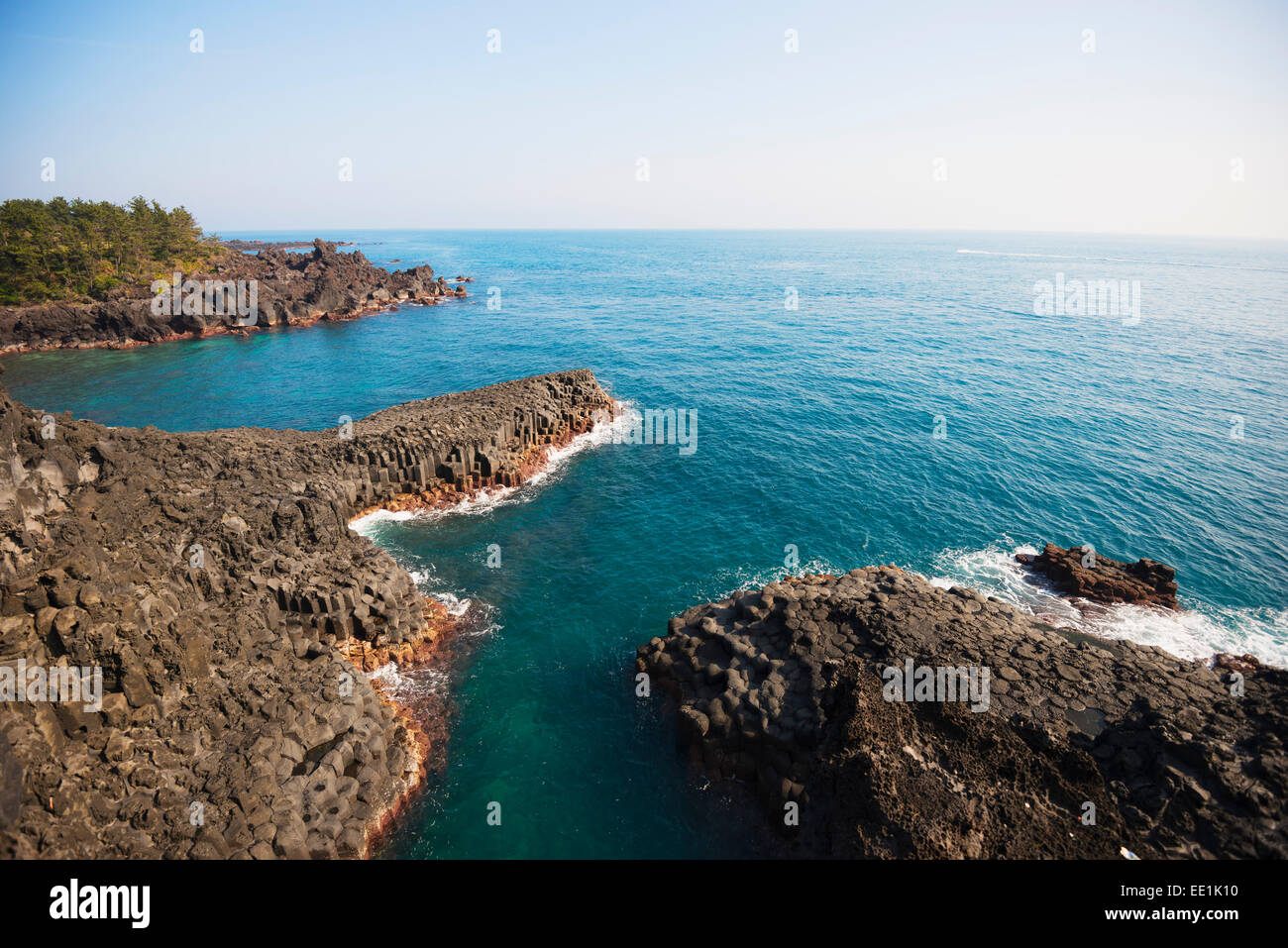Jungman Daepo columnar jointed lava formation, Seogwipo, Jeju Island, UNESCO World Heritage Site, South Korea, Asia Stock Photo