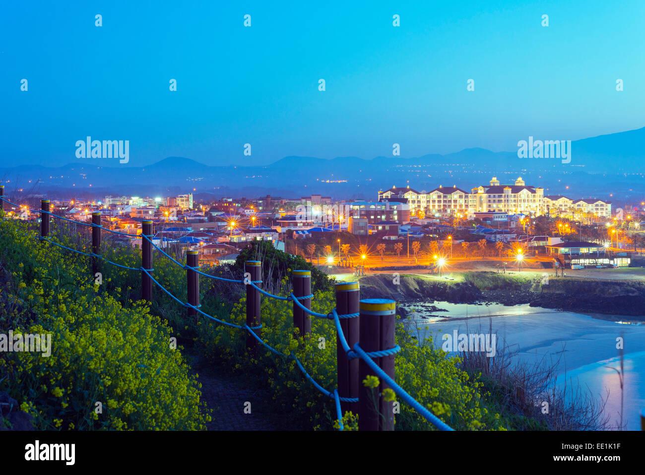 Coastal scenery at Gimnyeong Seongsegi beach resort, Jeju Island, South Korea, Asia - Stock Image