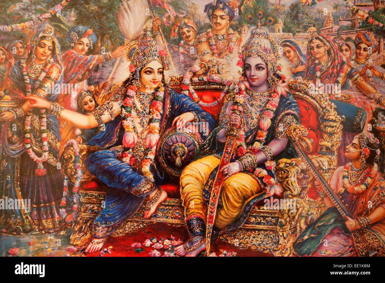 Picture of Radha and Krishna displayed in an ISKCON temple, Sarcelles, Seine St. Denis, France, Europe - Stock Image