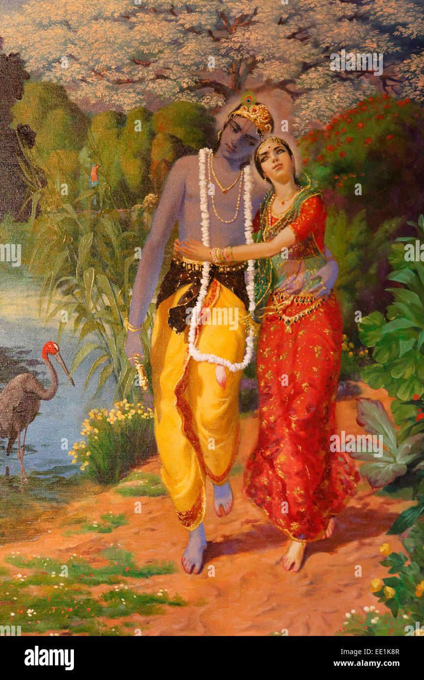 Picture of Krishna and Radha displayed in an ISKCON temple, Sarcelles, Seine St. Denis, France, Europe Stock Photo