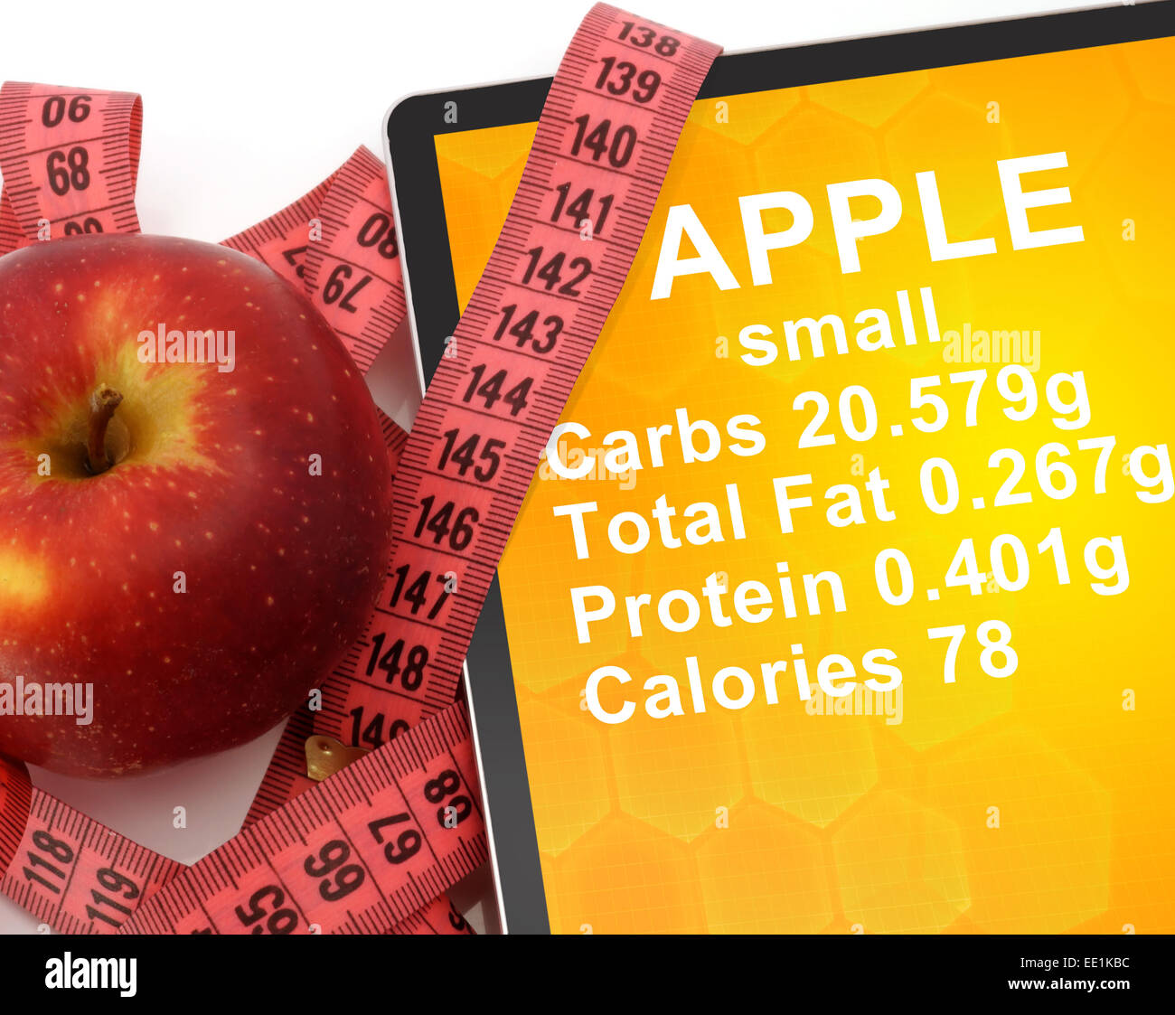 Tablet With Calories In Apple And Measuring Tape On White Stock Photo Alamy