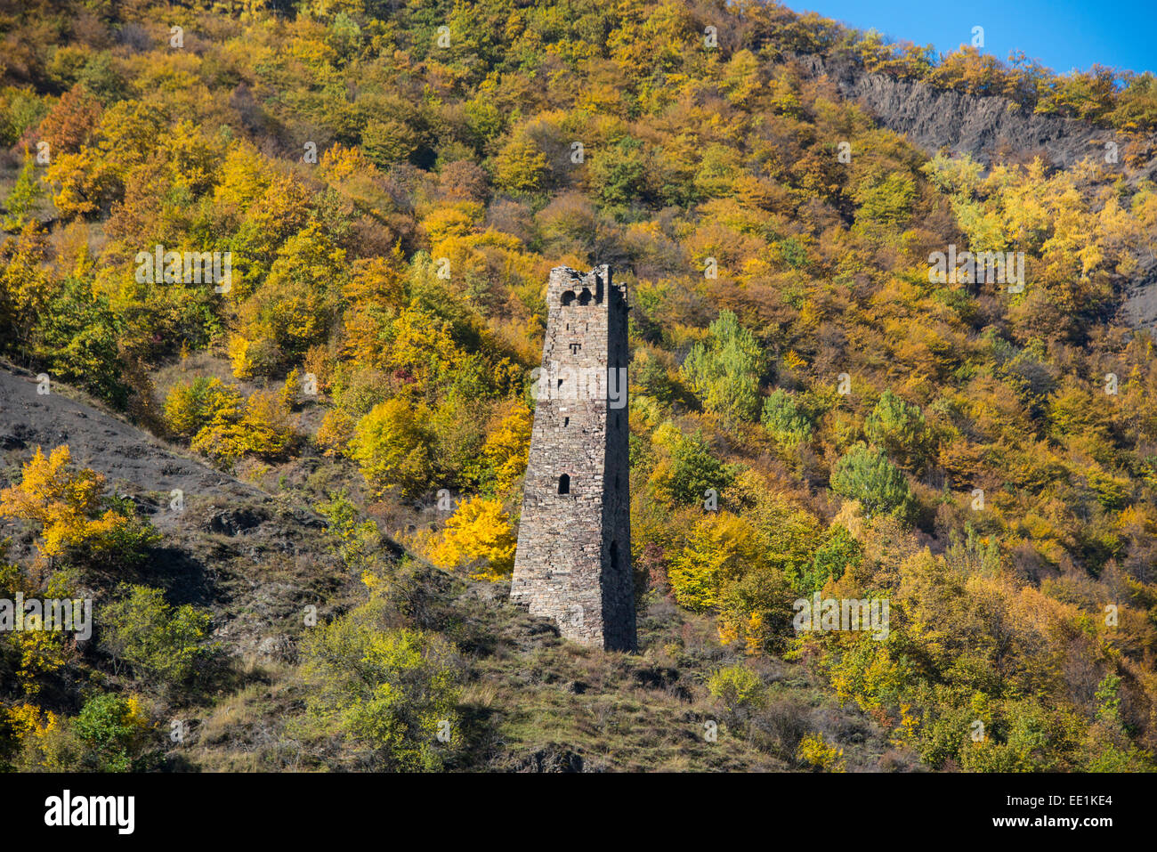 Chechen watchtower in the Chechen Mountains near Itum Kale, Chechnya, Caucasus, Russia, Europe - Stock Image