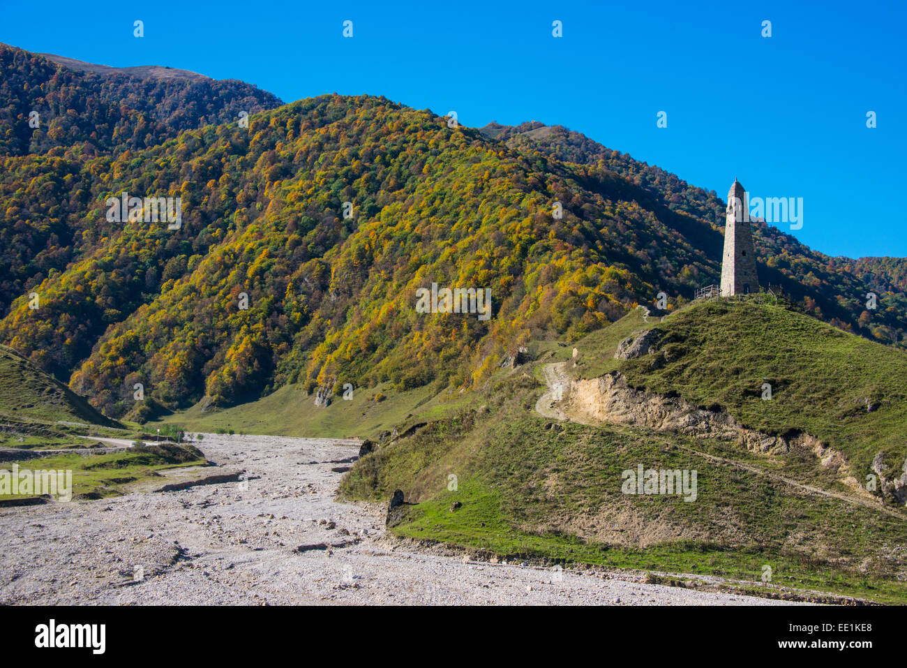 Watchtower in the Chechen Mountains, Chechnya, Caucasus, Russia, Europe Stock Photo