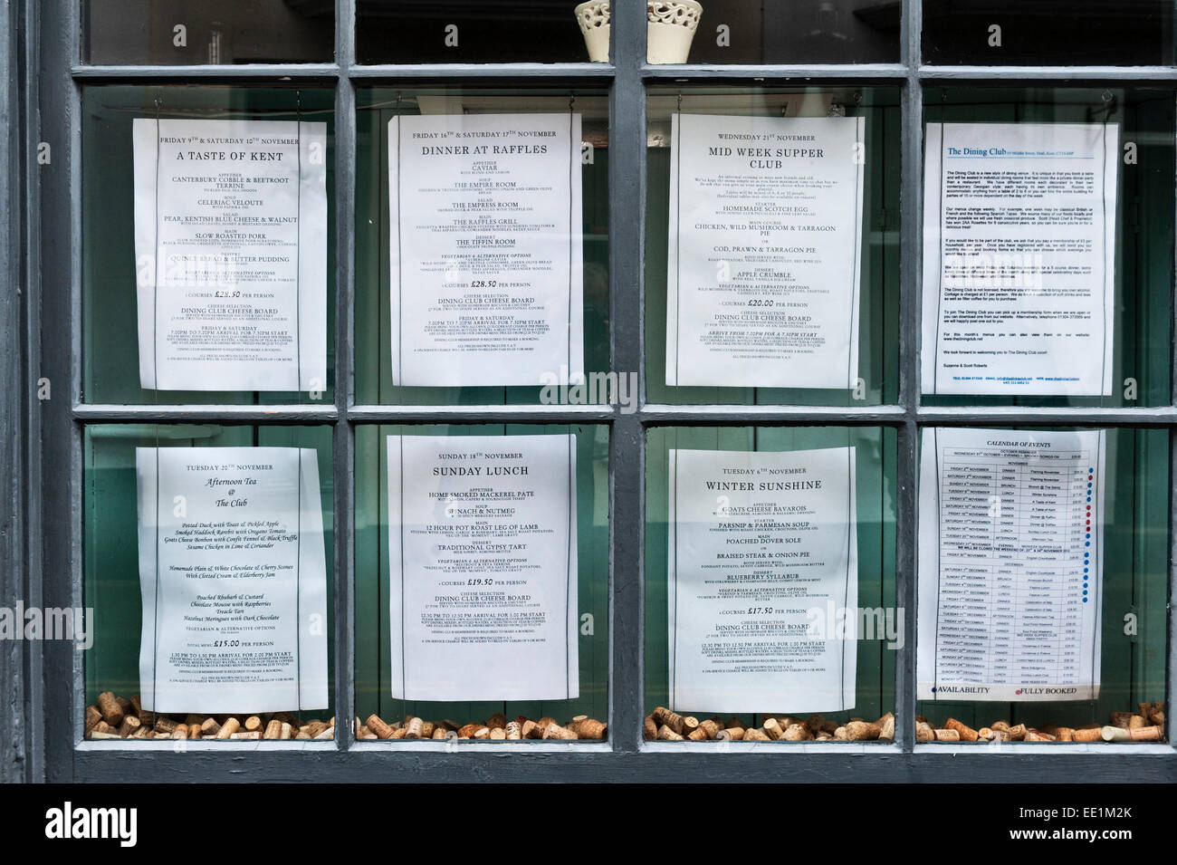 Deal, Kent, UK. Menus for forthcoming events at the Deal Dining Club, a members only restaurant - Stock Image