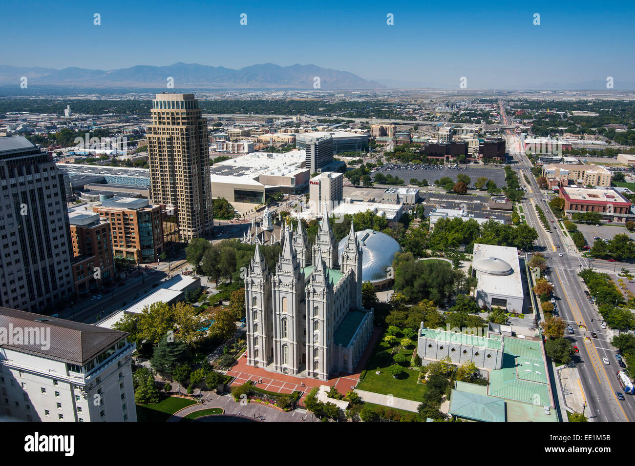 Overlook over Salt Lake City and the Mormon Assembly Hall, Salt Lake City, Utah, United States of America, North - Stock Image