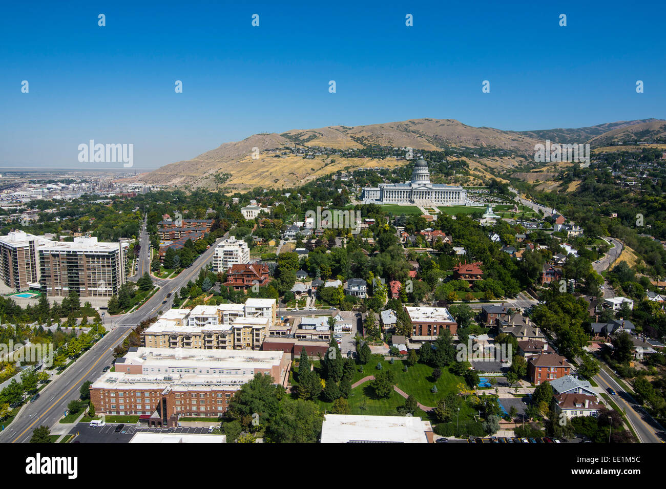 View over the Utah State Capitol and Salt Lake City, Utah, United States of America, North America - Stock Image