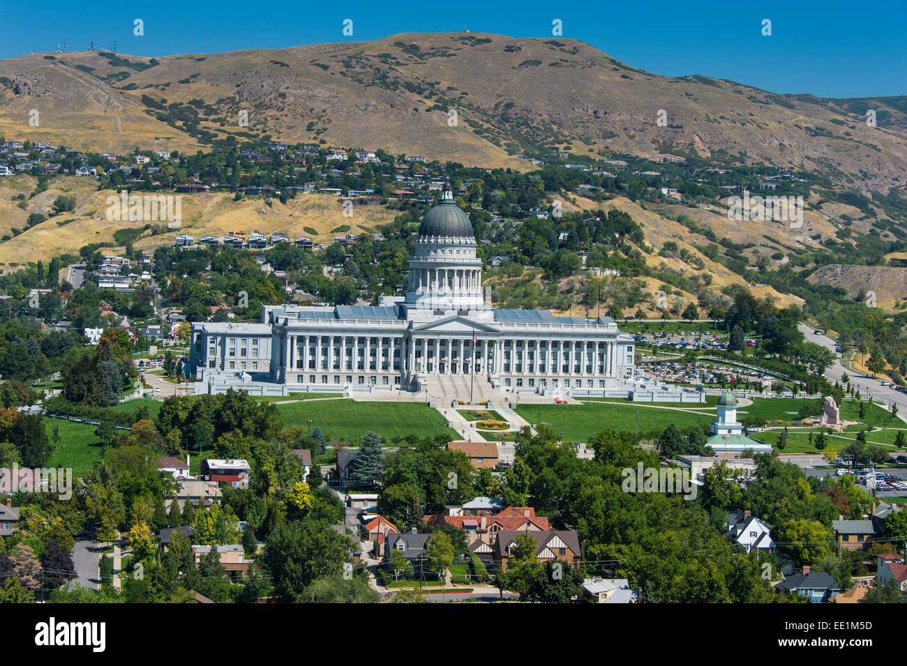 View over the Utah State Capitol, Salt Lake City, Utah, United States of America, North America - Stock Image
