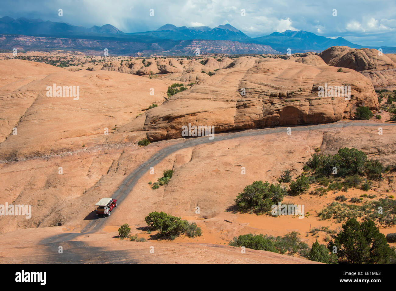 Hummer driving on the Slickrock trail, Moab, Utah, United States of America, North America - Stock Image