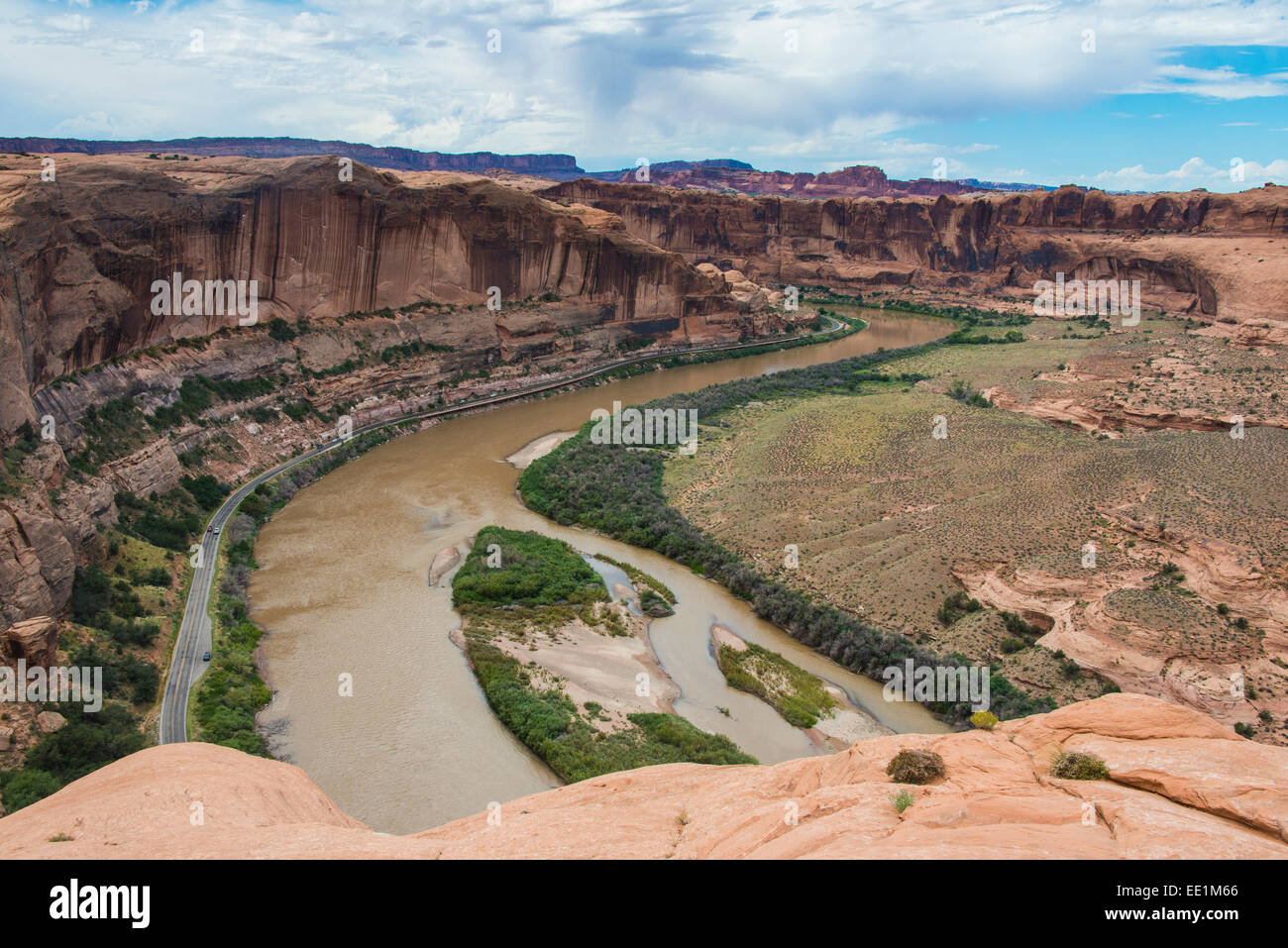 View over the Colorado River from the Slickrock trail, Moab, Utah, United States of America, North America - Stock Image