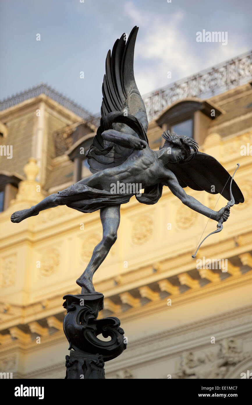 Eros statue in Piccadilly Circus, London, England, United Kingdom, Europe - Stock Image