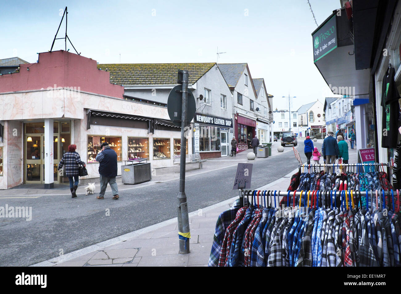A cold winter's day in Newquay. - Stock Image
