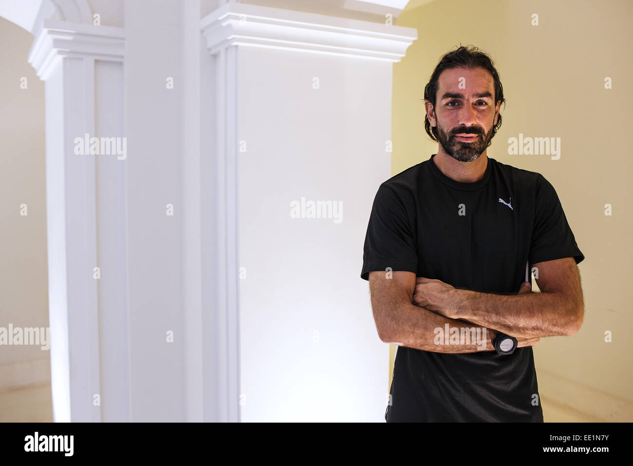 A portrait of Robert Pires - a French football player who plays for FC Goa in the Indian Super League. Goa, India, - Stock Image