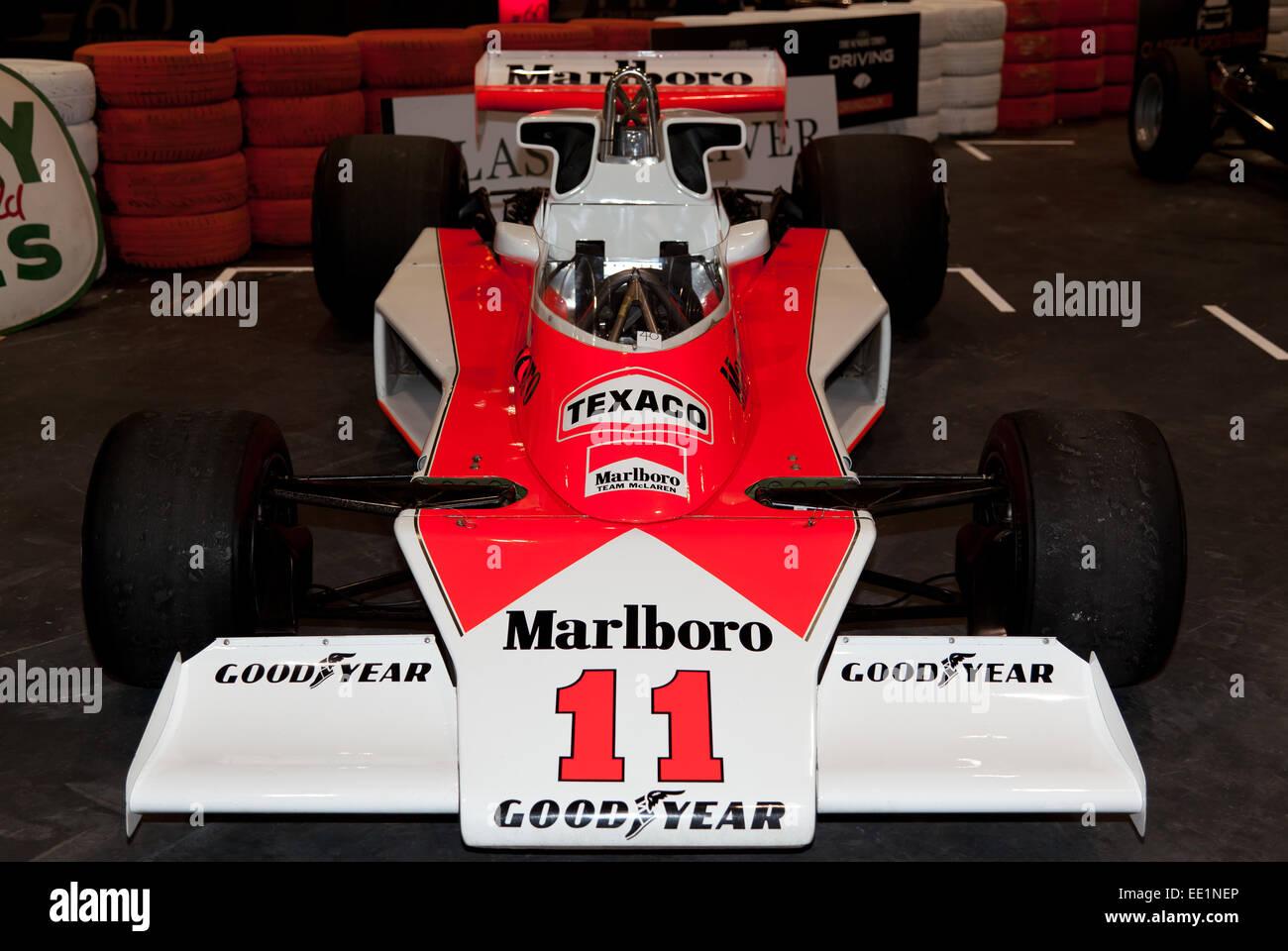 Front view of a McLaren M23 Formula 1 race car driven by Denny Hulme, Jochen Mass, James Hunt and Emilio de Villota, - Stock Image