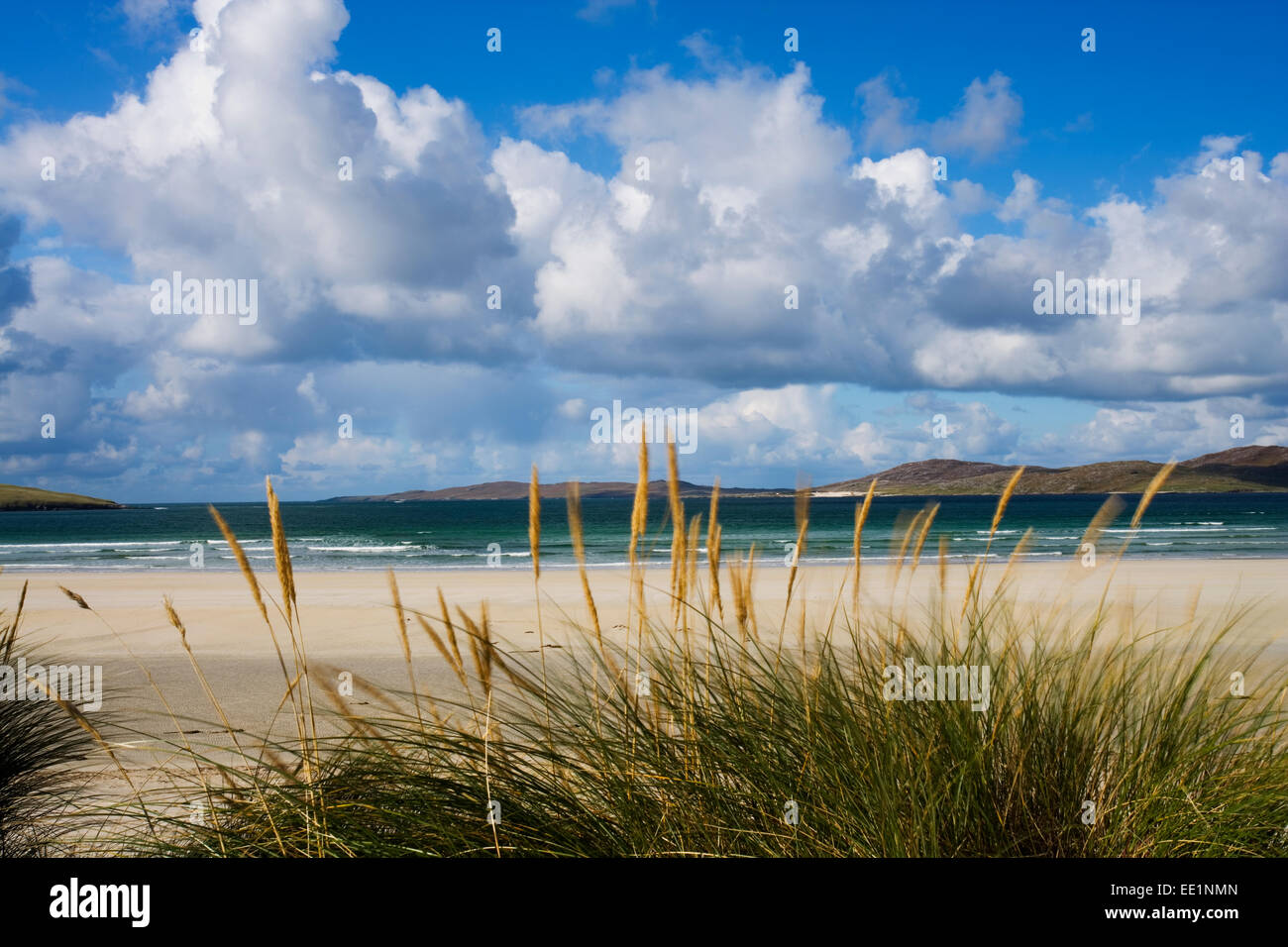A view looking out from Luskentyre Beach on the west coast of The Isle of Harris, Scotland. Stock Photo