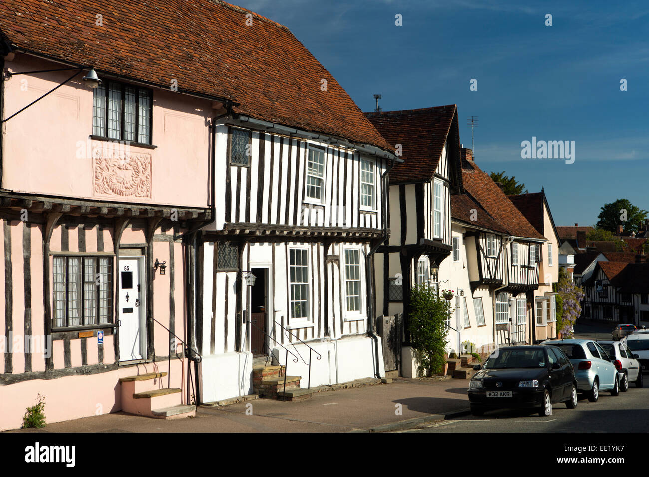 UK England, Suffolk, Lavenham, Church Street, pargeting on gable of timber framed houses Stock Photo