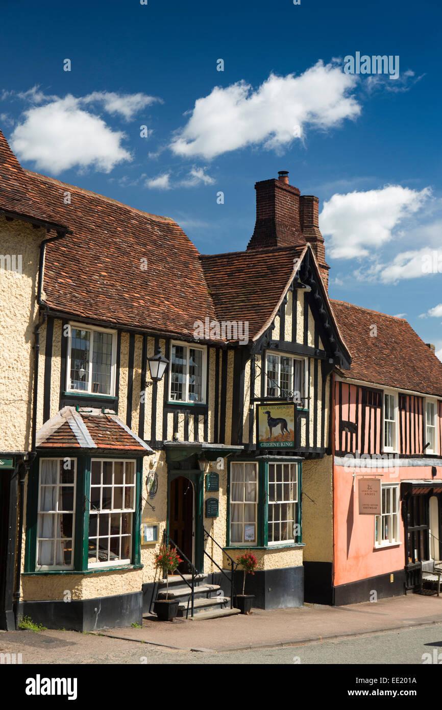 UK England, Suffolk, Lavenham, High Street, The Greyhound Inn - Stock Image