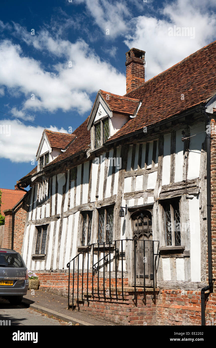 UK England, Suffolk, Lavenham, Barn Street, the Barn, medieval timber framed house - Stock Image