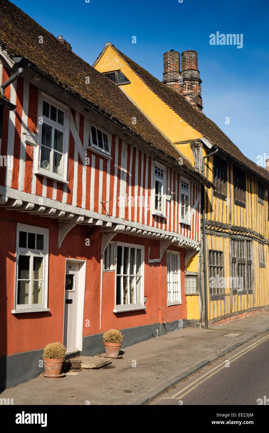 UK England, Suffolk, Lavenham, Water Street, medieval timber framed houses - Stock Image