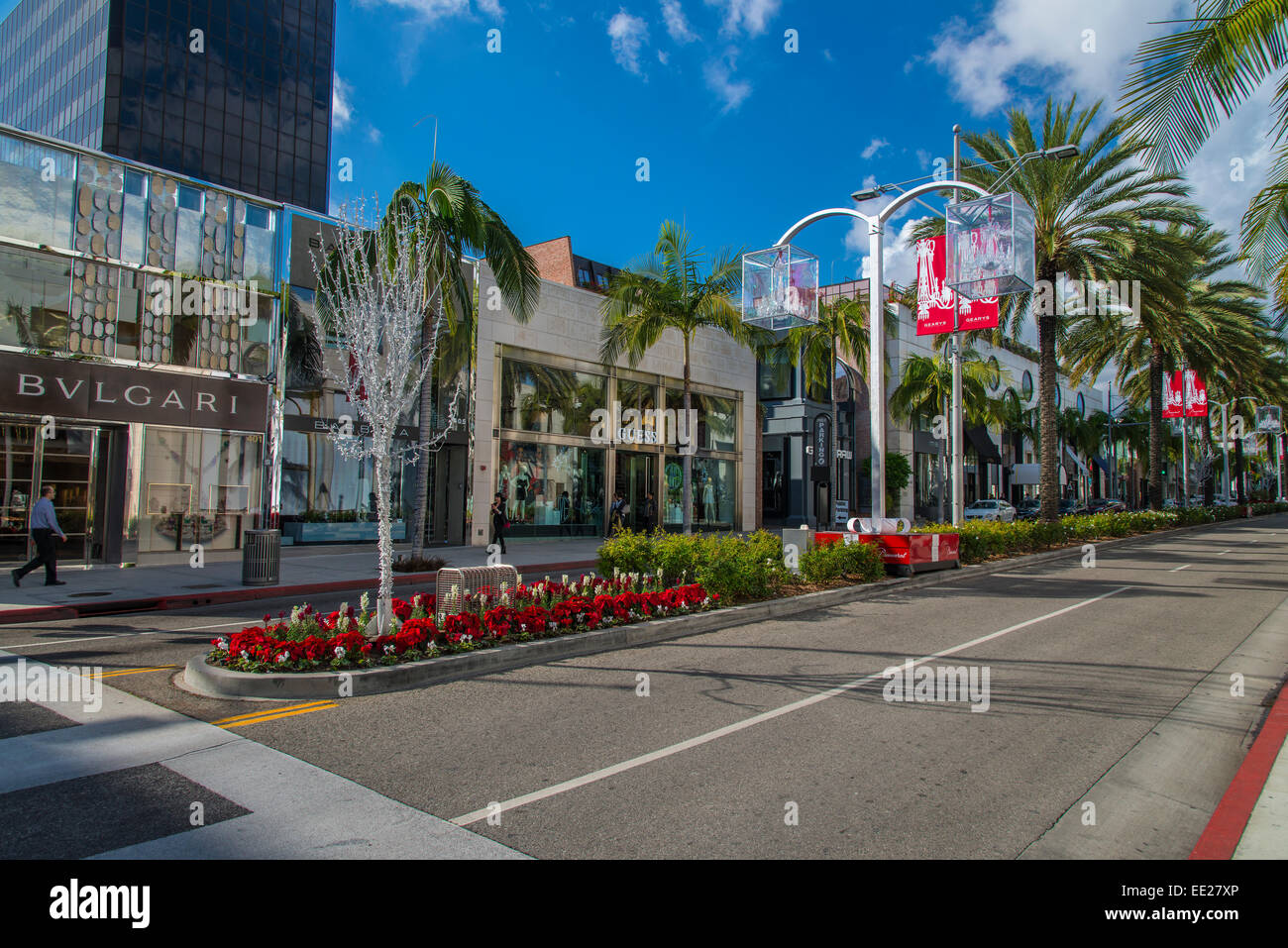 Elegant and trendy shops along Rodeo Drive, Beverly Hills, Los Angeles, California, USA - Stock Image