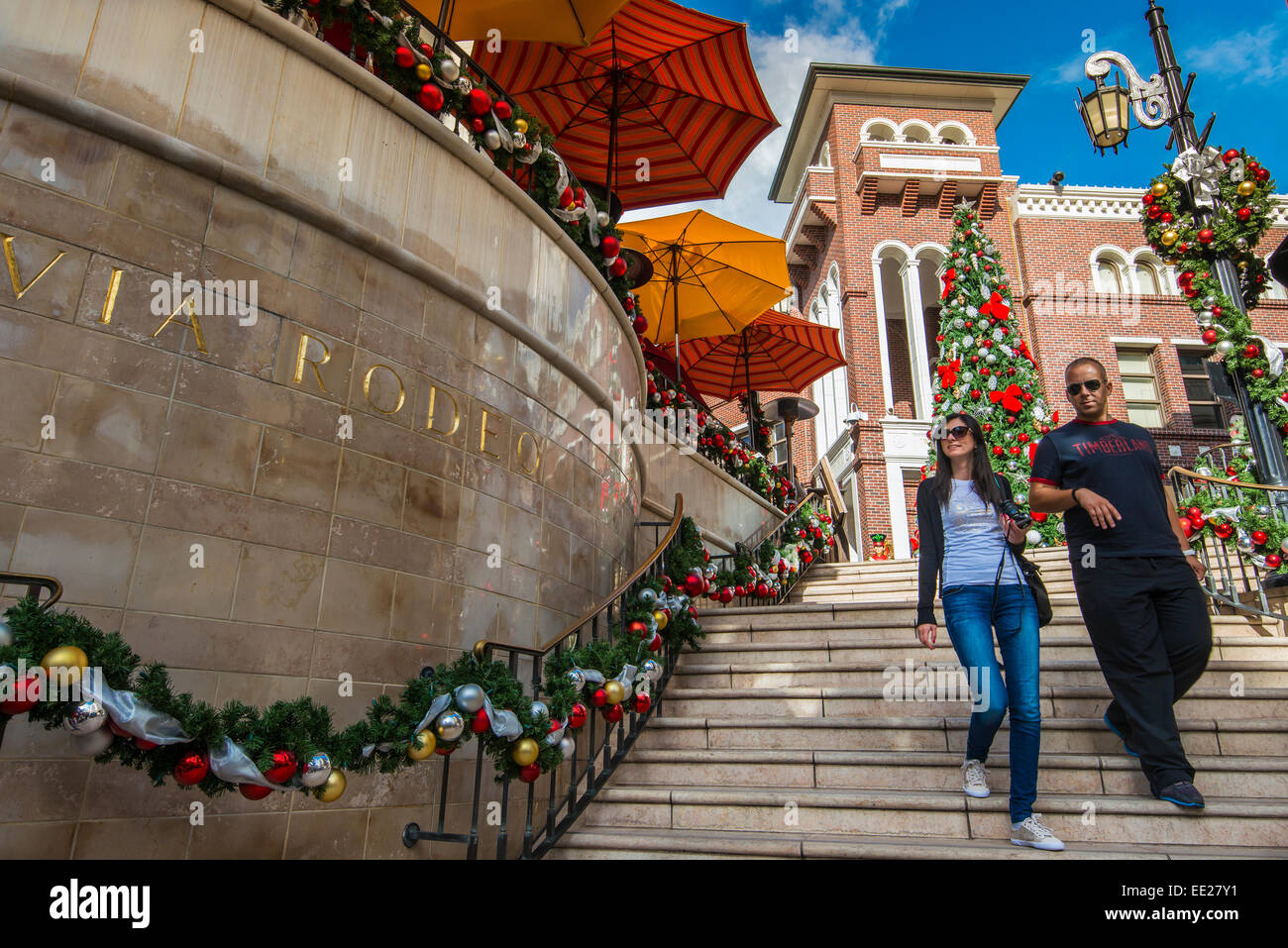 Via Rodeo staircase with Christmas decorations, Beverly Hills, Los Angeles, California, USA - Stock Image