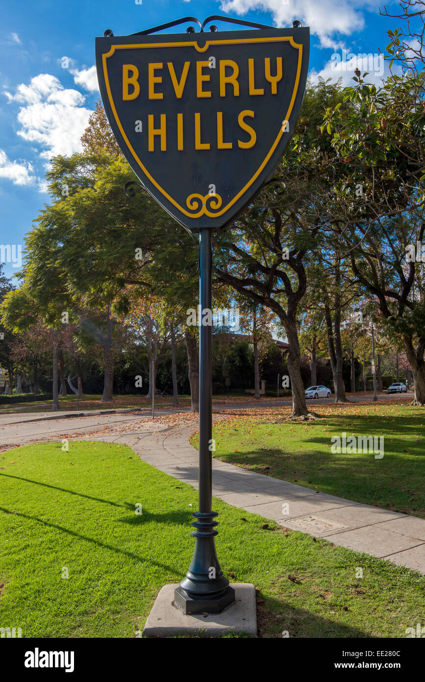 Beverly Hills city limits sign, Los Angeles, California, USA - Stock Image