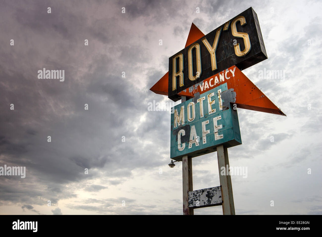 Roy's Motel and Cafe vintage sign, Amboy, California, USA - Stock Image